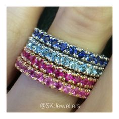 Pink Sapphires & Rubies set in Rose gold and Aquamarines & Blue Sapphires set in White gold. Aquamarine Blue, Pink Sapphire, Eternity Rings, Aqua Marine, Bangles, Bracelets, White Gold, Rose Gold, Gemstones