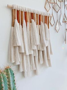 A macrame wall hanging made with fine combed cotton rope and cotton thread to create a unique work of modern art. Each piece is handmade using over 200 feet of cotton rope and nearly 300 feet of cotton thread. Hangs from a 12 Macrame Wall Hanging Patterns, Yarn Wall Hanging, Macrame Patterns, Wall Hangings, Quilt Patterns, Stitch Patterns, Diy Wall Decor, Diy Home Decor, Deco Boheme
