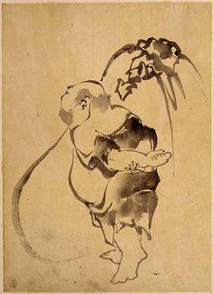 School of Katsushika Hokusai, Hotei. From Hokusai School Collection of Drawings. Zen Painting, Japanese Painting, Chinese Painting, Chinese Art, Pintura Zen, Art Occidental, Katsushika Hokusai, Art Japonais, Korean Art