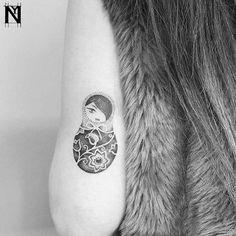 Dotwork Matryoshka Doll Tattoo by noamyonatattoos