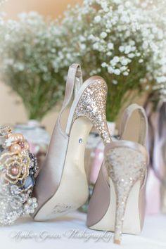 Wedding photography- St Louis Glitter Cinderella wedding shoes.