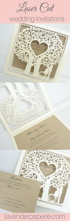 ♥ INVITATION LISTING COLORS ♥This uniquely inspired invitation is printed on Kraft cardstock nestled neatly inside a cream shimmer laser cut outer wrap. All