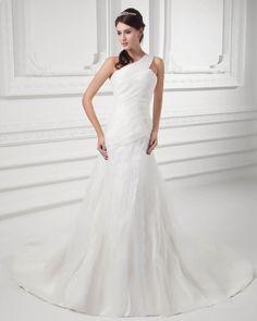 That's wonderful!  Read More:     http://www.weddingspnina.com/index.php?r=organza-ruffle-one-shoulder-court-train-mermaid-wedding-dress.html