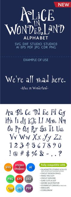 Alice in Wonderland Font Cuttable Alphabet SVG DXF EPS Studio Studio3 Png Pdf Jpg Ai Cdr alphabet files for Silhouette Studio, Cricut, Cameo