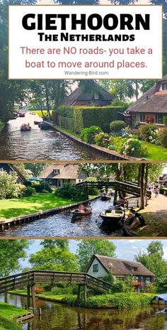 Giethoorn in The Netherlands was one of the highlights of our Europe Road trip. If you're visiting Holland, definitely add Giethoorn to your itinerary! Europe Destinations, Europe Travel Tips, European Travel, Travel Goals, Adventure Awaits, Adventure Quotes, Adventure Travel, Beautiful Places To Visit, Cool Places To Visit