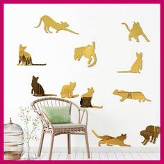 11Pcs/Set Cat Mirror Wall Stickers For Kids Rooms Stickers Muraux Home Decoration Decal Adhesivos De Pared Decoracion De Hogar