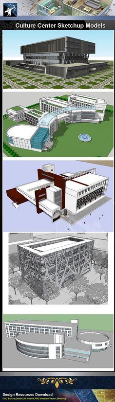 ☆Sketchup 3D Models 15 Types Of Culture Center Sketchup Models