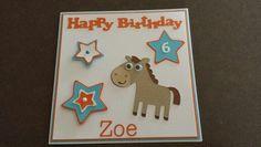 Birthday card using create a critter horse.