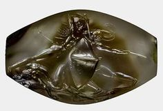 "Pylos Combat Agate - Intricately carved #prehistoric #Greek gem/sealstone ,"" as the 3500 year old seal has come to be known portrays a fierce hand-to-hand #battle. From the tomb of the #Minoan ""Griffin Warrior"" - The tiny sealstone depicting warriors in battle measures just 1.4 inches across but contains incredible detail. Credit: University of Cincinnati"