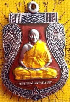 "Real 1999 ""PHRA LP PERN"" COIN ENAMEL WAT BANGPHRA BUDDHA AMULET THAILAND PENDANT"