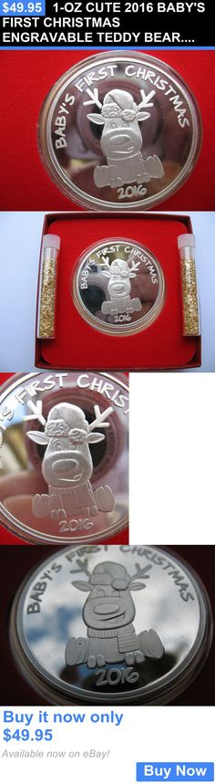 Bullion: 1-Oz Cute 2016 Babys First Christmas Engravable Teddy Bear.999 Silver Coin+Gold BUY IT NOW ONLY: $49.95