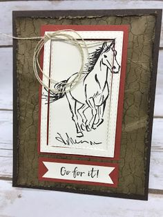 Stamping with Melva Card Tags, I Card, Horse Cards, Crackle Painting, Send A Card, Stampin Up Cards, Men's Cards, Greeting Cards, Beautiful Handmade Cards
