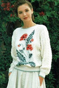 Ladies intarsia sweater knitting pattern in DK, jumper, pullover. Also as PDF. Knitted Poppies, Sweater Knitting Patterns, Pattern Paper, Christmas Sweaters, Jumper, Sweaters For Women, Bell Sleeve Top, Pullover, Lady