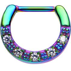"""16 Gauge 5/16"""" Clear CZ Rainbow IP Paved Crescent Septum Clicker 