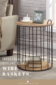 You can easily add an Industrial-Chic style to your home with wire baskets. Wire baskets is not only eye-catchy, they are also a clever, sturdy, and affordable way to add storage to any room. This post demonstrates how Wire Baskets can serve as a home decor element and great at organizing your home. #wirebasket #homestyling #homestorage #homedecorideas #interiordecor #homeorganization #homedecortips #homedecorinspiraitions #industrialstyle #industrialdecor #farmhousestyle #trendyhomehacks