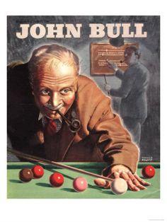 John Bull, Snooker Billiards Pipes Games Magazine, UK, 1946 Premium Poster