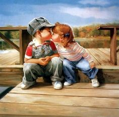 oil painting,   first kiss by artist donald zolan paintings 35618