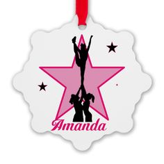 """Pink Cheerleader Personalized Ornament 2.375"""" x 3"""" snowflake Made out of aluminum  #pink #ornament #cheer #cheerleading #cheerleader #allstars #personalizedgifts #forgirls"""