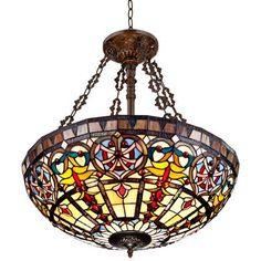 "Ornamental Tiffany Style 24"" Wide Art Glass Pendant Light - #W3315   LampsPlus.com"