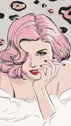 Sultry pink haired woman smoking a cigarette Pop Art.