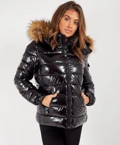 Skirt Co Ord, Puffer Jackets, Women's Jackets, Metallic Jacket, Loungewear Set, Wet Look, Urban Fashion, Women's Fashion, Cropped Hoodie