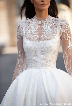 """Milla By Lorenzo Rossi Wedding Dresses for Every Bride — """"Paris"""" Bridal Collection Boho Chic Wedding Dress, Princess Wedding Dresses, Dream Wedding Dresses, Bridal Dresses, Wedding Gowns, Modest Wedding, Wedding Ceremony, Minimalist Gown, Minimalist Wedding Dresses"""