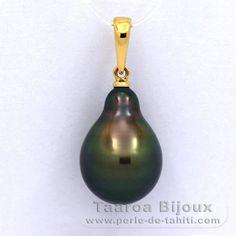 Pendentif en Or 18K et 1 Perle de Tahiti Semi-Baroque B 11.3 mm - Taaroa Perles de Tahiti - Perles de Tahiti, d'Australie et des Mers du Sud - Bijouterie en ligne - Polynésie Française / St Barthélemy