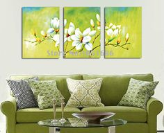 Hand Painted Modern Abstract Oil Paintings White Flower Decoration For Home 3pc Light Green Color Canvas Picture Wall Art