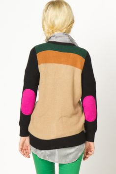 A-thread sweater, with a men's button up underneath. Paired with neon green skinny jeans. Great combination, but it would also look great with black leather leggings and doc martens. #elbow patches #color blocking
