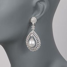 Ross-Simons - 8.35 ct. t.w. Diamond and 12.5-13mm Cultured South Sea Pearl Drop Earrings in 18kt White Gold - #789940