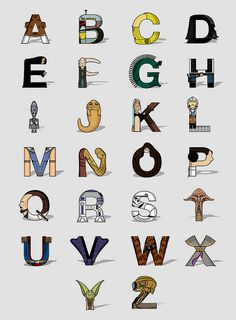 Star Wars Alphabet by Fabian Gonzalez. #typography - and somehow I found Jabba is kinda cute.