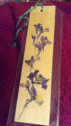 Real pressed flower bookmark using miniature snapdragons and a thinly-sliced piece of Northern Basswood from The Basswood Man, WI