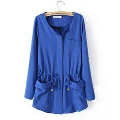 2014 New fashion XXXXL Elastic waist Bouble Pocket puls size big girl large loose women's blouse Female Chiffon Long Shirt US $16.70