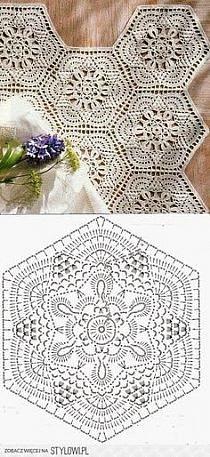 Crochet Motif - Free Crochet Diagram - by carlani Crochet Doily Diagram, Crochet Motifs, Crochet Squares, Thread Crochet, Lace Knitting, Crochet Crafts, Crochet Doilies, Crochet Flowers, Knitting Patterns