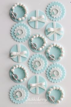 Tiffany Diamond Ring Cupcake Toppers, love the ring idea for someone's engagement party...