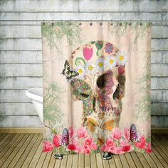 Sugar Skull Shower Curtain Day Of The Dead Retro Boho Hippie Bath Mat Towels Set