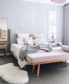 Our blush button cushion in the home of Courtney McCann styling and photography by - Modern Bedroom Dream Bedroom, Home Bedroom, Girls Bedroom, Bedroom Decor, Design Bedroom, Bedding Decor, Bedroom Wall, Bedroom Lamps, Wall Lamps