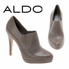 "Aldo Waddel Booties Taupe Grey Sexy Waddell booties in taupe grey. 4.75"" heel 0.5"" platform. Aldo size 40 but fits tight & narrow toe makes it fits more comfortably for a 39 (8.5-9). No scratches or damage to exterior shell except for minor scuffing at front toes. Not very noticeable. Worn only one. I had moleskin attached to the inner back heel on the left shoe and when I went to remove it, it pulled some of the inner sole fabric. This can be easily fixed with some moleskin. Other than…"