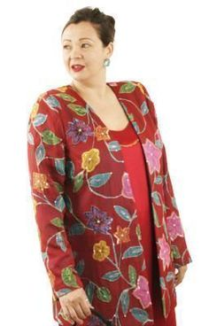 31029a11e8f Plus Size Special Occasion Jacket Handpainted Sequins Silk Red Turquoise