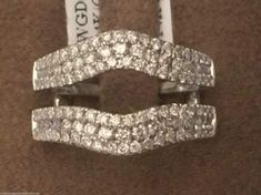 14k White Gold 3 Row Solitaire Enhancer Diamond Ring Guard Wedding Jacket (1.00ctw)