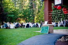 The reception celebration of Jenny and Kevin was held on the Granlibakken Lawn near Lake Tahoe.