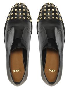 ASOS MITCHELL Leather Flat Shoes with Spike Detail