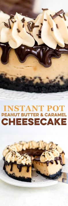 This heavenly peanut butter & caramel cheesecake is easy to make in your Instant Pot! Get the recipe plus troubleshooting tips to achieve the perfect pressure cooker cheesecake #InstantPot #cheesecake