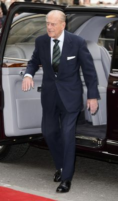 Prince Philip looked fresh and happy, as he stepped out of the car on Trafalgar Square.