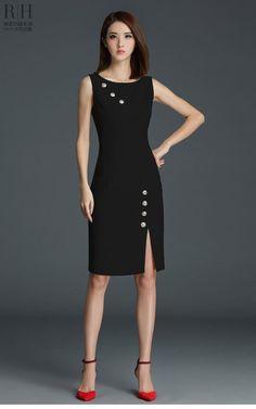 Đầm công sở đính nút xẻ tà màu đen sang trọng  - đầm công sở xinh rạng ngời