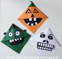 Marque pages en origami spécial Halloween