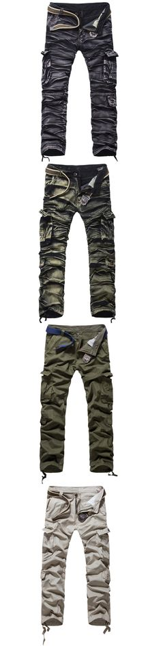 New Men's Camouflage multi pocket pants military trousers overalls male loose plus size casual pants men