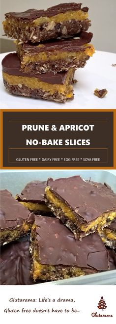 Prune & Apricot Slice (gluten, dairy, egg free) layers of delicious prune, apricot and chocolate by Glutarama Gluten Free Treats, Paleo Treats, Dairy Free Recipes, Bar Recipes, Vegan Recipes, Dessert Recipes, Desserts, Apricot Slice, Apricot Cake