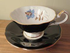 Vintage Queen Anne porcelain tea cup and saucer by LesCurieux