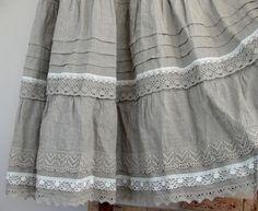 Купить Юбка льняная авторская 2 - серый, однотонный, лен, бохо стиль, юбка длинная